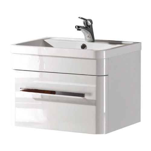 Crystal 600mm White Gloss Wall Mounted Vanity Unit & Basin